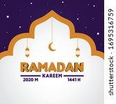 ramadan kareem greeting vector...   Shutterstock .eps vector #1695316759