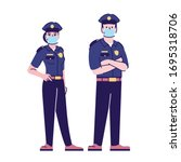 police officers in covid19... | Shutterstock .eps vector #1695318706