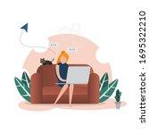 freelancer  working on laptop...   Shutterstock .eps vector #1695322210