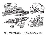 hand drawn sliced bread and... | Shutterstock .eps vector #1695323710
