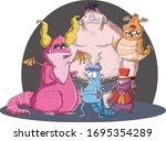 group of cartoon monster. scary ... | Shutterstock .eps vector #1695354289