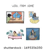 freelancers work from home... | Shutterstock .eps vector #1695356350