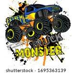 monster track car typography... | Shutterstock .eps vector #1695363139
