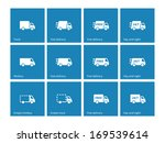 delivery trucks icons on blue...
