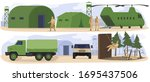 people in military base camp ... | Shutterstock .eps vector #1695437506