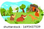 stone age people with pet... | Shutterstock .eps vector #1695437539