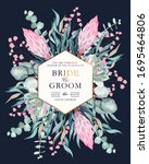 vintage wedding card with... | Shutterstock .eps vector #1695464806