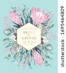 vintage wedding card with... | Shutterstock .eps vector #1695464809