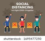 social distancing  sitting far... | Shutterstock .eps vector #1695477250