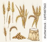 vector hand drawn wheat ears...   Shutterstock .eps vector #1695487063