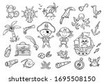 a set of pirate cliparts... | Shutterstock .eps vector #1695508150