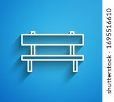 White Line Bench Icon Isolated...