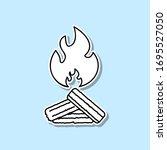 bonfire sticker icon. simple...
