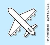 plane sticker icon. simple thin ...