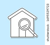 magnifier house sticker icon....