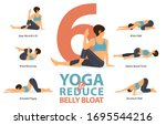 infographic of 6 yoga poses for ... | Shutterstock .eps vector #1695544216