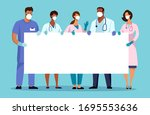 medical team with a banner ... | Shutterstock .eps vector #1695553636
