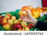 Female Hand Holding Ripe Apple...