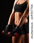 blonde sporty woman holding red ... | Shutterstock . vector #169557704