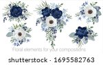 Vector Floral Set With Leaves...