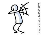 cute stick figure panic... | Shutterstock .eps vector #1695635773