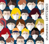 background of people in a... | Shutterstock .eps vector #1695723823