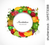 greeting card of fruit. round... | Shutterstock .eps vector #169573388