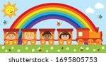 kids being happy in the train... | Shutterstock . vector #1695805753