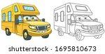house on wheels. rv  ... | Shutterstock .eps vector #1695810673