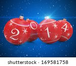 Red Christmas Balls 2014 on beautiful blue background - stock photo