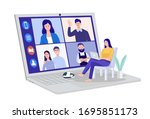 video conferencing at home ... | Shutterstock .eps vector #1695851173