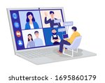 video conferencing at home  man ... | Shutterstock .eps vector #1695860179