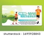 running men and women sports... | Shutterstock .eps vector #1695928843