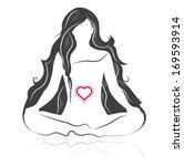 black and white yoga silhouette ... | Shutterstock .eps vector #169593914