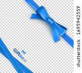blue ribbon bow from satin tape ... | Shutterstock .eps vector #1695942559