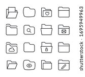premium set of folder line... | Shutterstock .eps vector #1695949963