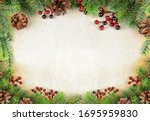 Christmas border with green fir ...