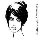 watercolor portrait of... | Shutterstock .eps vector #169596119