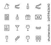 birthday line icons set. stroke ... | Shutterstock .eps vector #1695963640