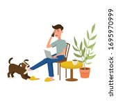 person working or trying to... | Shutterstock .eps vector #1695970999