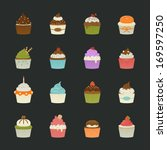 sweet cupcakes icons   eps10... | Shutterstock .eps vector #169597250
