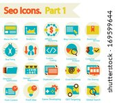 seo icons set part 1. flat... | Shutterstock .eps vector #169599644