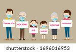 big family holding banners for... | Shutterstock .eps vector #1696016953