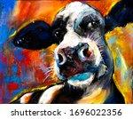 Original Pastel Painting. Cow...