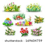 bunches of flowers collection | Shutterstock .eps vector #169604759