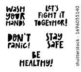 set of hand lettering messages... | Shutterstock .eps vector #1696055140