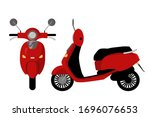 Red Moped Front And Side View....