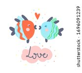 two fishes kiss cute vector... | Shutterstock .eps vector #1696091239