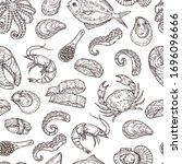 seafood pattern. hand drawn ink ... | Shutterstock .eps vector #1696096666