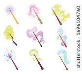 magic wands with fairy dust and ... | Shutterstock .eps vector #1696104760